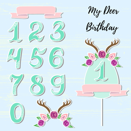 Vector set with Deer headband, numbers, frame. Deer symbols as patch, stick cake topper, sticker, drink topper. Props for baby birth, Deer party, birthday, first birthday, baby shower
