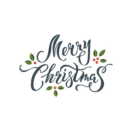 Merry Christmas handwritten lettering isolated on background. Calligraphic design for Merry Christmas greeting card, postcard motive, badge, web, invitation, poster. Typography for winter holidays