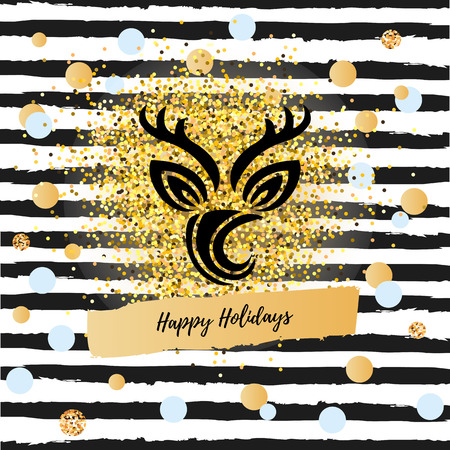 Happy Holidays vector illustration with Deer symbol. Deer as logo, badge, patch. Deer for invitation, greetings, party, Merry Christmas motive, winter holidays, birthday.