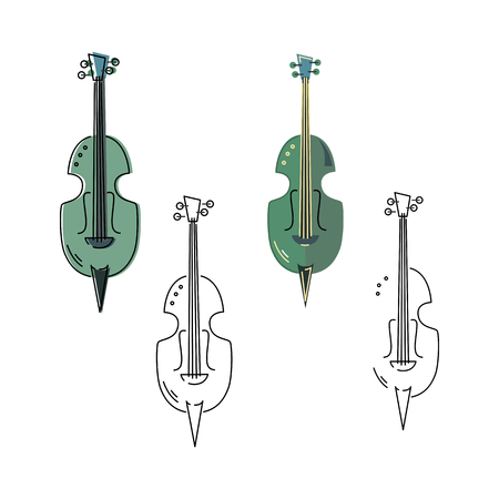 Vector set with icons of violin or contrabass isolated on white background. Flat and line design.