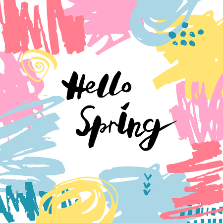 Handwritten modern lettering Hello Spring isolated on background. Frame with hand drawn stains. Vector illustration. Template for greetins, holidays, web, invitation.
