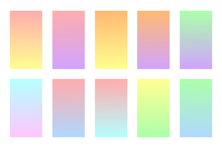 Pastel colors backgrounds set. Soft colors gradients. Vector illustration. Modern screen vector design for mobile app. Иллюстрация