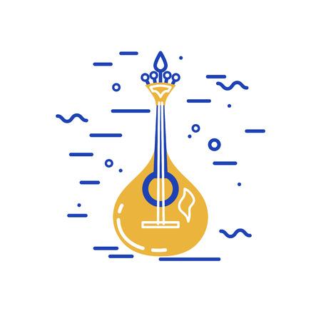 Acoustic guitar logo design. Portuguese fado guitar. Flat and line style vector illustration.