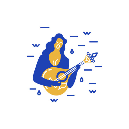 Woman with guitar is singing a song. Vector logo design. Portuguese sad song Fado. Flat and line style vector illustration.
