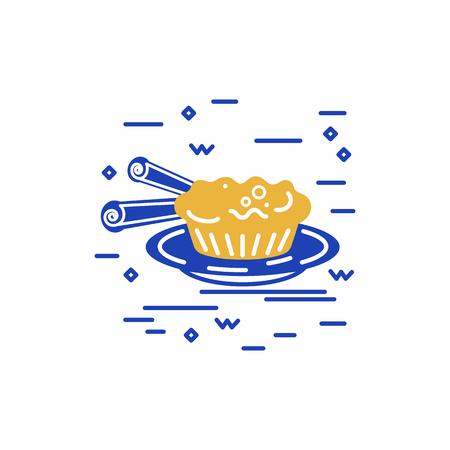 Desert logo design. Flat and line style vector illustration. Portuguese cake.