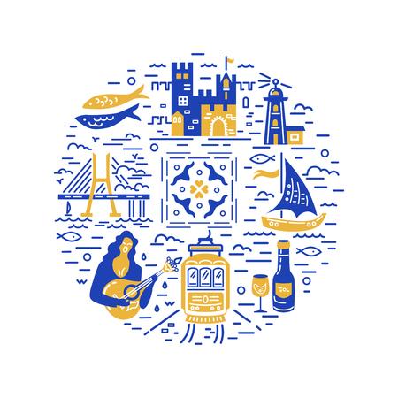 Cerchio con i simboli del Portogallo. Illustrazione vettoriale. Stile piatto e di linea.