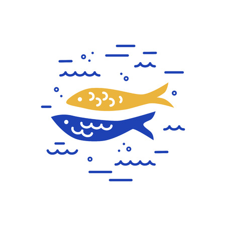 Fishes logo design. Flat and lines style vector illustration.