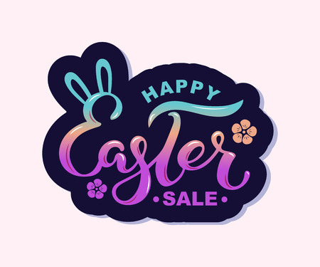 Happy Easter Sale text on background. Handwritten lettering Easter as logo, badge, icon. Template for Happy Easter Day, invitation, greeting card, web. Illustration