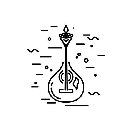 Acoustic guitar logo design. Portuguese fado guitar. Line style vector illustration.