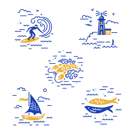 Sea vacation symbols vector set with surfing, lighthouse, lobster, sailboat and fishes. Travel concept. Illusztráció