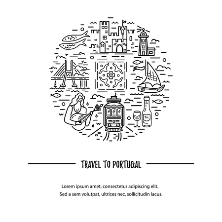 Template with Portugal symbols circle. Vector illustration. Line style. Travel concept.