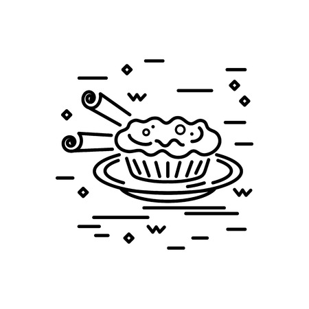 Desert design. Line style vector illustration. Portuguese cake.