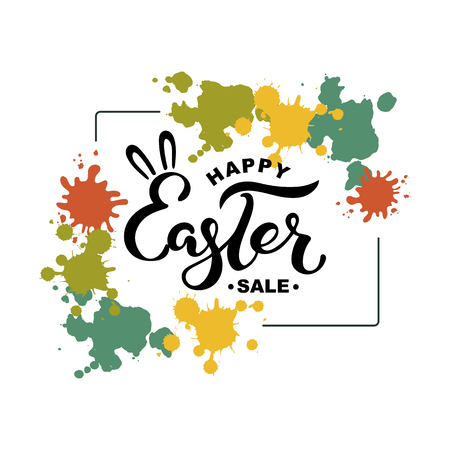 Happy Easter Sale text on background with splashes. Handwritten lettering Easter as, badge, icon. Template for Happy Easter Day, invitation, greeting card, web.