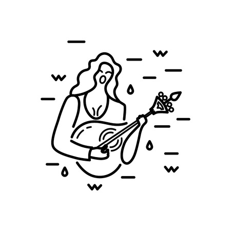 Woman with guitar is singing a song. Vector  design. Portuguese sad song Fado. Line style vector illustration. Иллюстрация