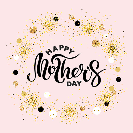 Happy Mother's Day isolated on pink background. Handwritten lettering as Mother's day, badge. Template for Happy Mother's day, invitation, greeting card, web, postcard. Vector illustration. Illustration