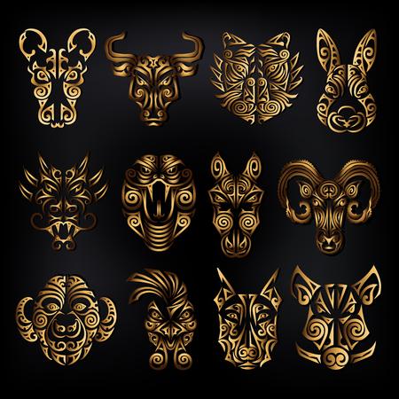 Conjunto de signos del zodíaco chino. Rata, toro buey, tigre, conejo, dragón, serpiente, caballo, carnero, mono, gallo, perro, jabalí, cabezas, estilizado, maorí, cara, tatuaje, vector, ilustración