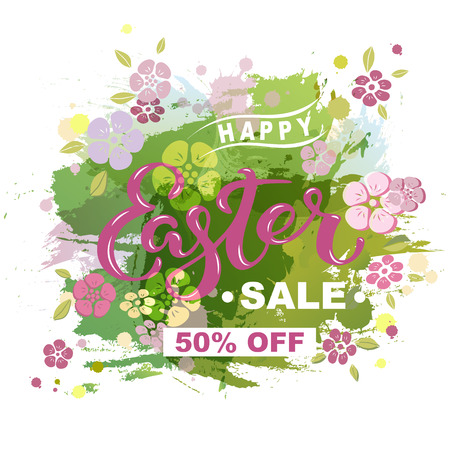 Happy Easter Sale on spring background. Handwritten lettering Easter as logo, badge, icon. Template for Happy Easter Day, invitation, greeting card, web.