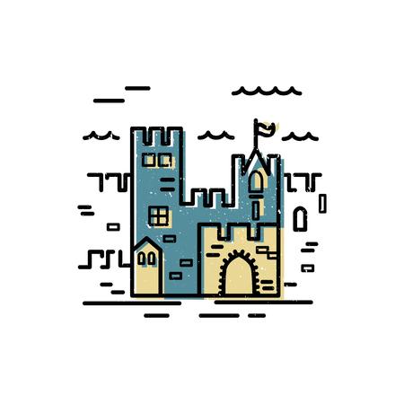 Castle  design. Flat and line style vector illustration. Travel concept. Kingdon symbol. Vector label for company. Ilustrace