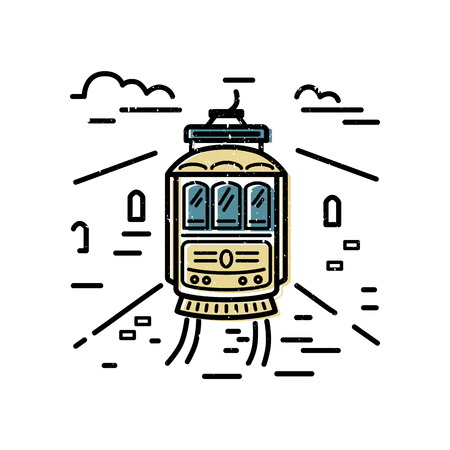 Tram design. Flat and lines style vector illustration. Ecological transport concept. Vector Illustration