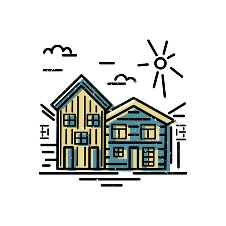 Houses design. Flat and line style vector illustration. Real estate and rent apartment concept. Vettoriali