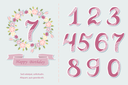 Vector set with flower wreath, numbers, ribbon. Design elements for baby birth, birthday party, greeting card, invitation. Illustration