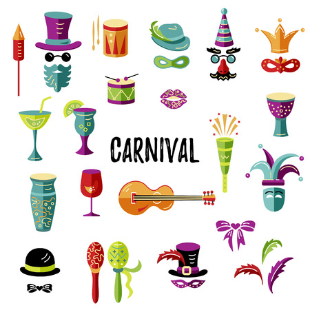 Carnival and celebratory subjects, masks, musical instruments, fireworks, drinks, confetti Vector icons set Illustration