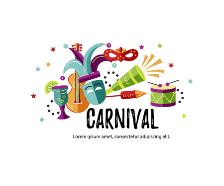 Vector illustration with carnival and celebratory objects. Template for carnival, invitation, poster, flayer, funfair Illustration