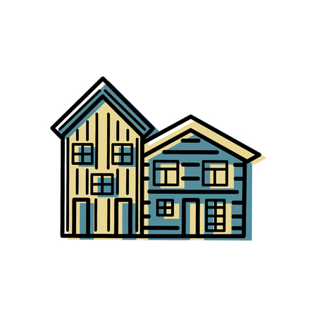 House logo design. Flat and line style vector illustration. Real estate and rent apartment concept.