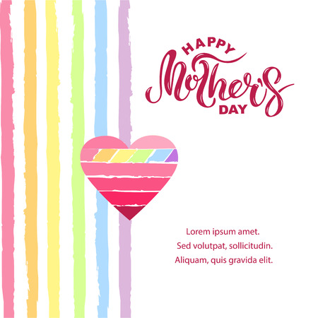 Happy Mother's Day isolated on background with rainbow stripes. Handwritten lettering as Mother's day logo, badge. Vector illustration for Happy Mothers day, invitation, greeting card, web, postcard