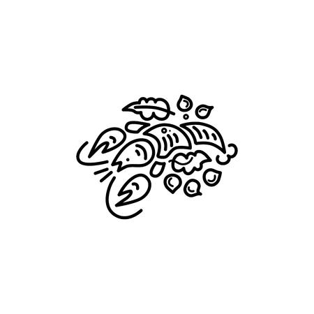 Lobster or seafood logo design. Line style vector illustration.