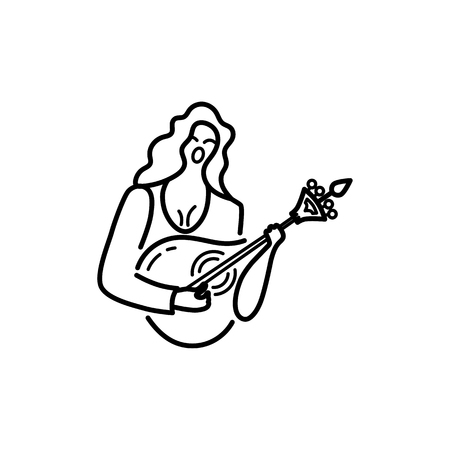 Woman with guitar is singing a song. Vector logo design. Portuguese sad song Fado. Line style vector illustration. Illustration