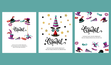 Vector illustration with carnival and celebratory objects. Handwritten lettering Carnival. Template for carnival, invitation, poster, ticket, flayer, funfair. Flat style