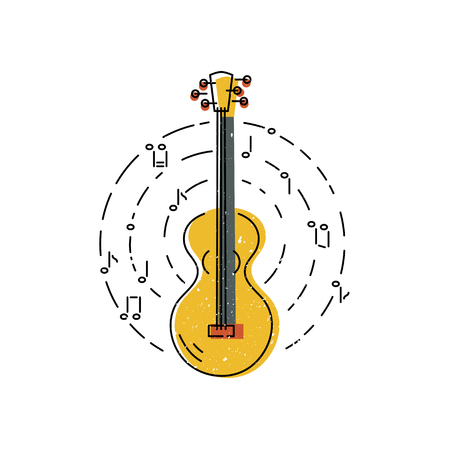 Guitar icon isolated on white background. Flat and line style vector illustration. 일러스트