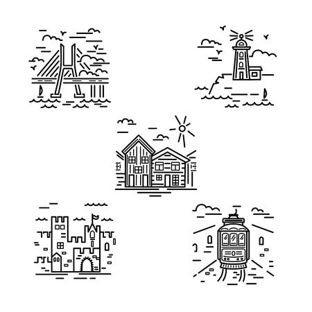 Stadtsymbolvektorsatz mit Schloss, Leuchtturm, Häusern, Brige und Straßenbahn. Umriss-Stil-Vektor-Illustration. Immobilien- und Reisekonzept.