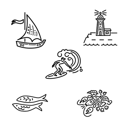 Sea vacation symbols vector set with surfing, lighthouse, lobster, sailboat and fishes. Travel concept. Vector illustration.