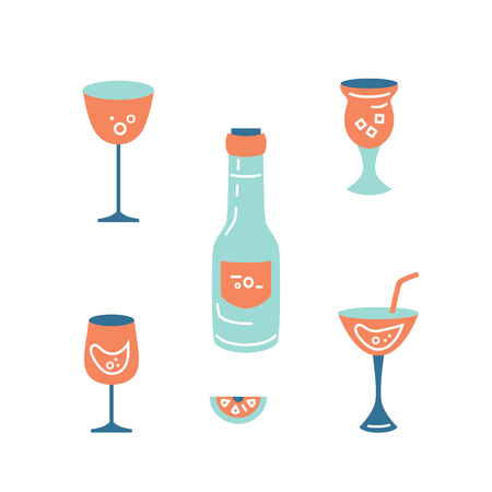Set of cocktail and wine glasses and bottle. Flat style vector illustration.