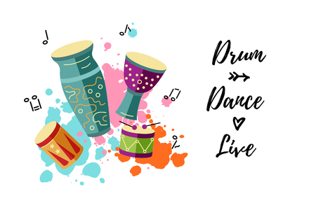 Vector illustration with drums and paint splashes. Template for party, drum school, invitation, poster, card, flyer, banner. Place for your text
