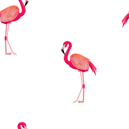 Seamless pattern with pink flamingo. Vector illustration.