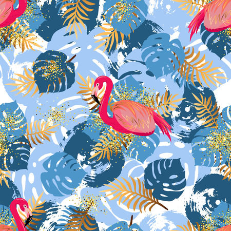Seamless pattern with pink flamingo and tropical leaves. Vector illustration.