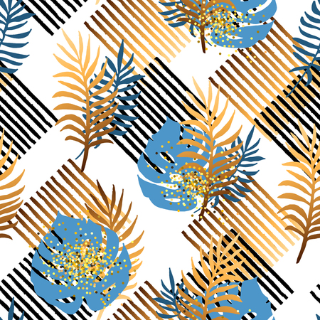 Seamless pattern with tropical blue and golden leaves, stripes. Vector illustration. Illustration