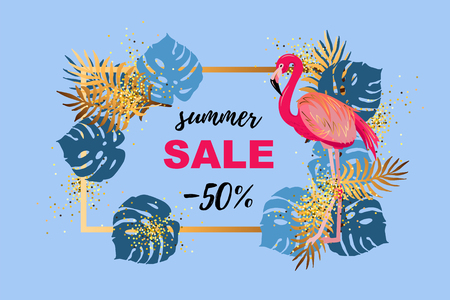 Pink flamingo and tropical leaves. Sammer sale. Place for your text. Vector illustration for banner, poster, web, invitation, flyer.  イラスト・ベクター素材