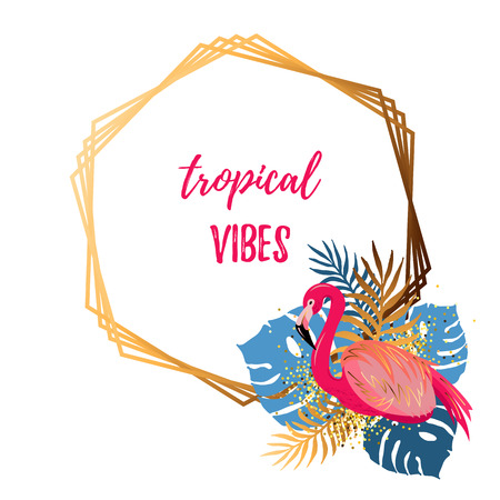 Golden frame with pink flamingo and tropical leaves isolated on white background. Tropical vibes. Place for your text. Vector illustration for party, invitation, flyer, poster, banner, web, wedding.