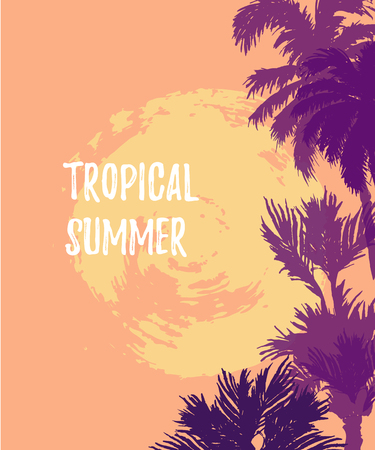 Sunset or sunrise with palm trees. Tropical summer. Place for your text. Vector illustration for party, invitation, flyer, poster, banner, web.