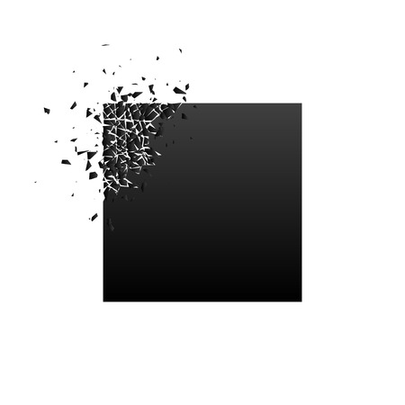 Black square with debris on white background. Place for your text. Vector illustration for banner, lettering, invitation, poster.