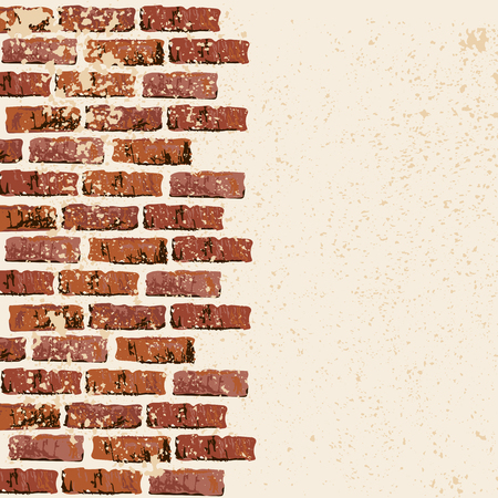 Brick wall vector illustration backgrond. Place for your text. Grunge textured backdrop for banner, lettering, graffiti. Illustration