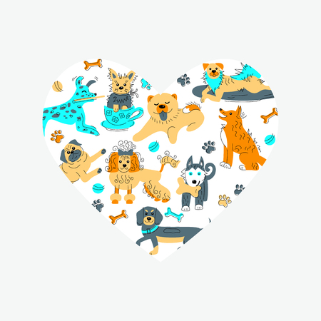Heart shape with hand drawn sketch style dogs. Flat and line style vector illustration isolated on background.