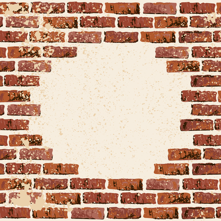 Brick wall vector illustration backgrond. Place for your text. Grunge textured backdrop for banner, lettering, graffiti. Vetores
