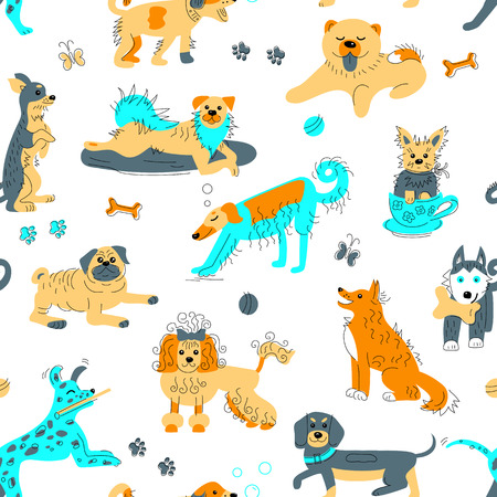 Seamless pattern with hand drawn sketch style dogs. Vector illustration for baby clothes, wrapping paper, textile, fabric.
