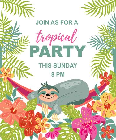 Pereza de dibujos animados está durmiendo en una hamaca bajo palmeras. Ilustración de vector de fiesta tropical. Lugar para su texto. Plantilla de temporada para vacaciones, cartel, banner, flyer, invitación. Estilo plano y de línea.