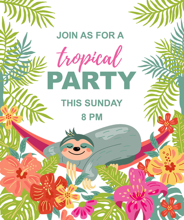 Cartoon sloth is sleeping in hammock under palm trees. Tropical party vector illustration. Place for your text. Seasonal template for vacation, poster, banner, flyer, invitation. Flat and line style.